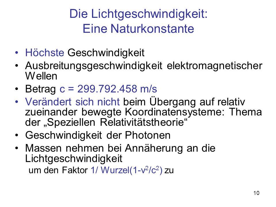 10 Die Lichtgeschwindigkeit: Eine Naturkonstante Höchste Geschwindigkeit Ausbreitungsgeschwindigkeit elektromagnetischer Wellen Betrag c = 299.792.458