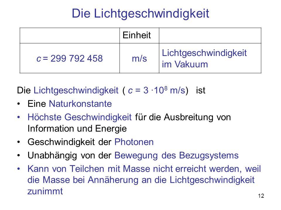 12 Die Lichtgeschwindigkeit Die Lichtgeschwindigkeit ( c = 3 ·10 8 m/s) ist Eine Naturkonstante Höchste Geschwindigkeit für die Ausbreitung von Inform