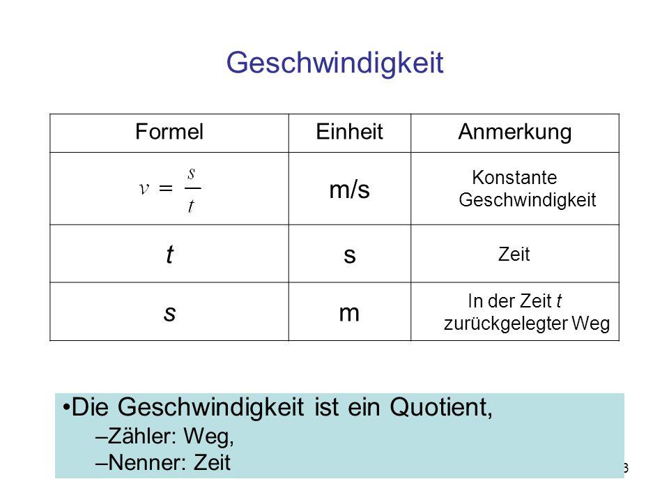 3 FormelEinheitAnmerkung m/s Konstante Geschwindigkeit ts Zeit sm In der Zeit t zurückgelegter Weg Geschwindigkeit Die Geschwindigkeit ist ein Quotien