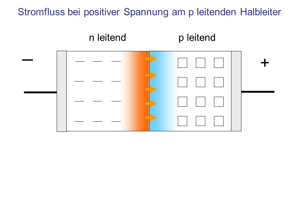 n leitendp leitend Stromfluss bei positiver Spannung am p leitenden Halbleiter +