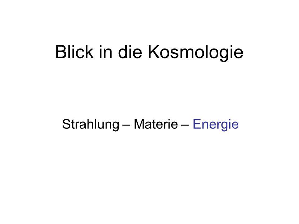 Blick in die Kosmologie Strahlung – Materie – Energie