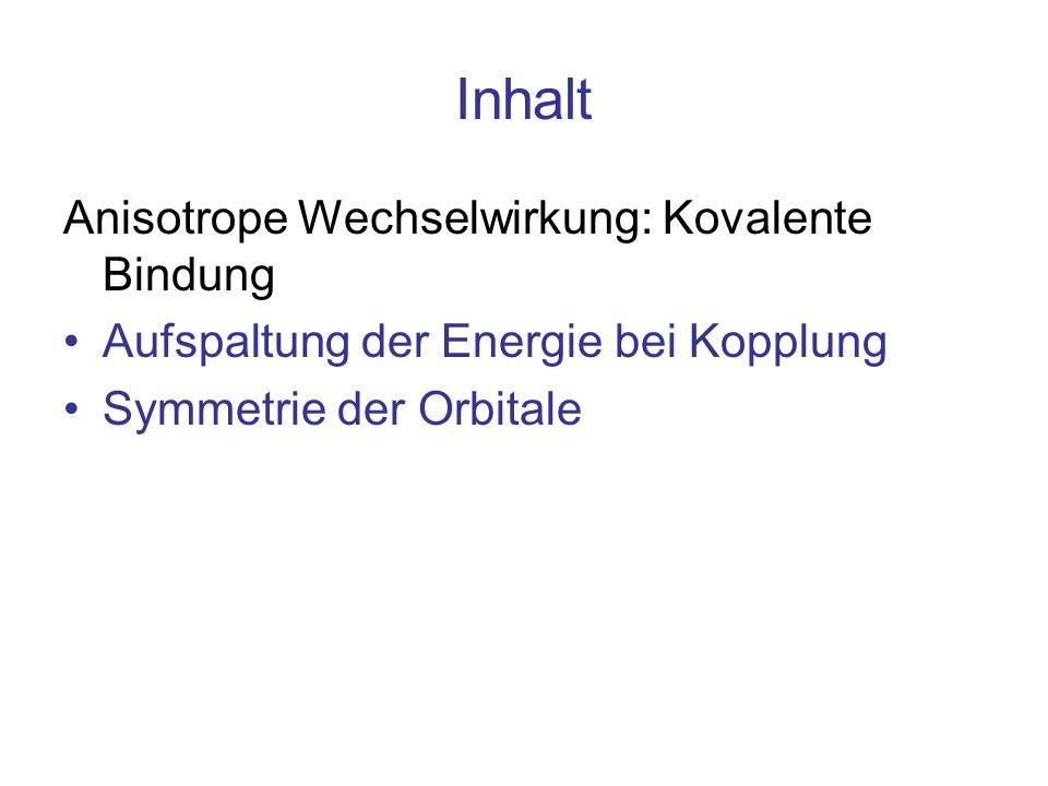 Inhalt Anisotrope Wechselwirkung: Kovalente Bindung Aufspaltung der Energie bei Kopplung Symmetrie der Orbitale