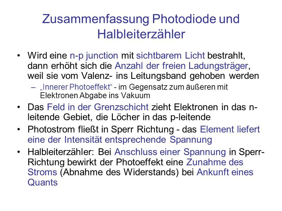 Zusammenfassung Photodiode und Halbleiterzähler Wird eine n-p junction mit sichtbarem Licht bestrahlt, dann erhöht sich die Anzahl der freien Ladungsträger, weil sie vom Valenz- ins Leitungsband gehoben werden –Innerer Photoeffekt - im Gegensatz zum äußeren mit Elektronen Abgabe ins Vakuum Das Feld in der Grenzschicht zieht Elektronen in das n- leitende Gebiet, die Löcher in das p-leitende Photostrom fließt in Sperr Richtung - das Element liefert eine der Intensität entsprechende Spannung Halbleiterzähler: Bei Anschluss einer Spannung in Sperr- Richtung bewirkt der Photoeffekt eine Zunahme des Stroms (Abnahme des Widerstands) bei Ankunft eines Quants