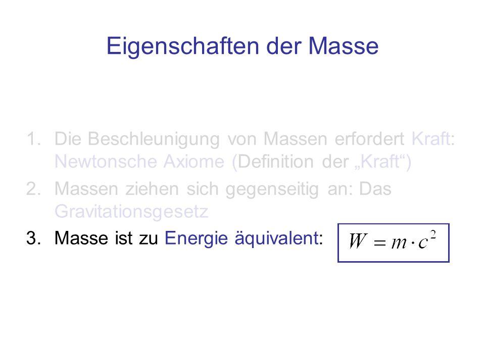 1.Die Beschleunigung von Massen erfordert Kraft: Newtonsche Axiome (Definition der Kraft) 2.Massen ziehen sich gegenseitig an: Das Gravitationsgesetz
