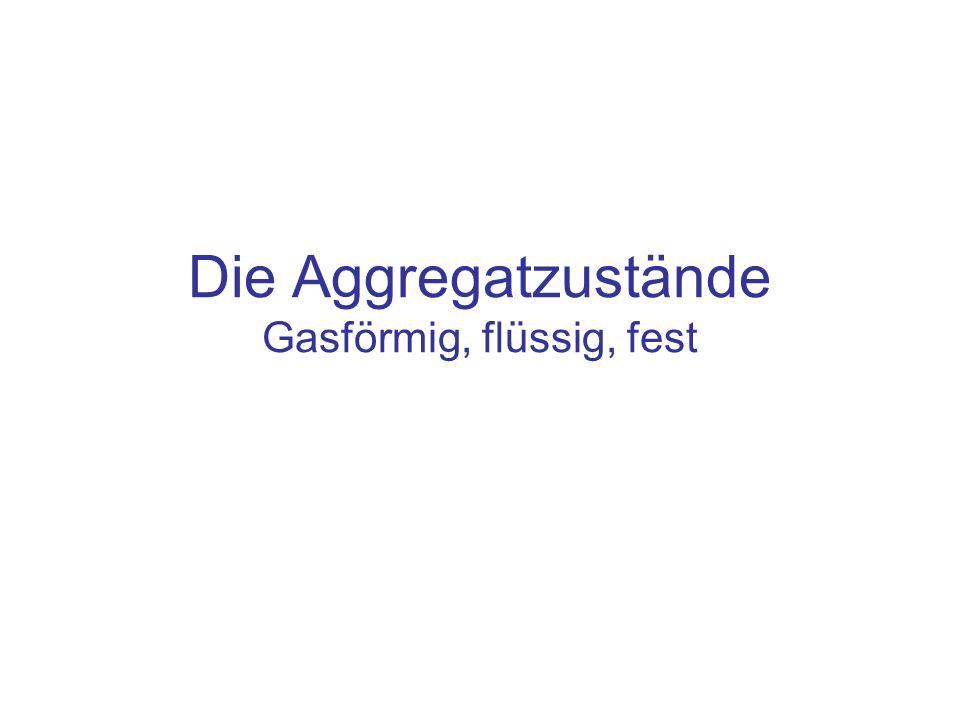 Inhalt Die drei Aggregatzustände: –Gasförmig –Flüssig –Fest Phasenübergänge –Die Anregungsenergie zum Umbau der Atome liefert die Temperaturbewegung