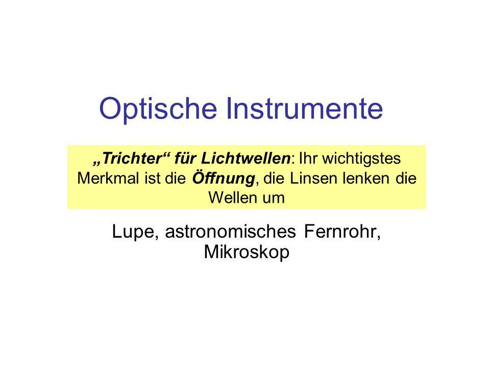 Optische Instrumente Lupe, astronomisches Fernrohr, Mikroskop Trichter für Lichtwellen: Ihr wichtigstes Merkmal ist die Öffnung, die Linsen lenken die