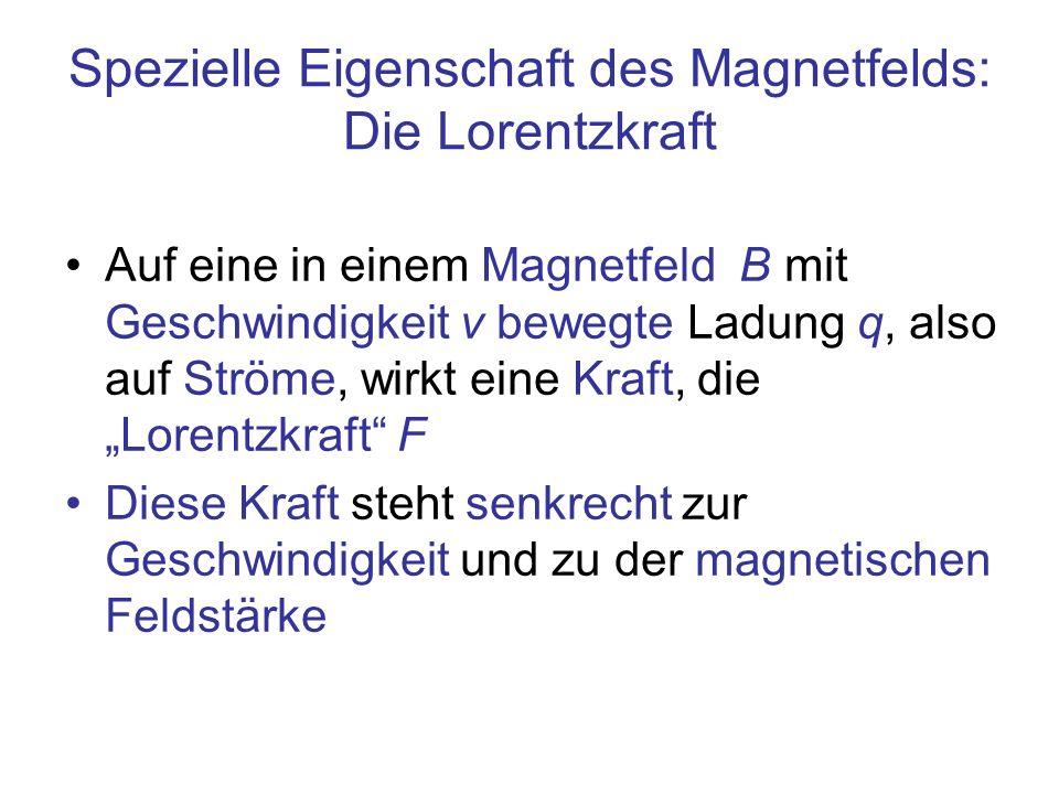 Spezielle Eigenschaft des Magnetfelds: Die Lorentzkraft Auf eine in einem Magnetfeld B mit Geschwindigkeit v bewegte Ladung q, also auf Ströme, wirkt