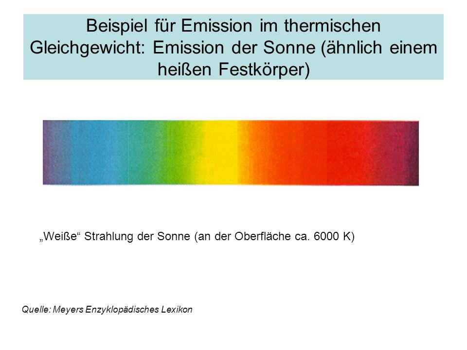 Beispiel für Emission im thermischen Gleichgewicht: Emission der Sonne (ähnlich einem heißen Festkörper) Quelle: Meyers Enzyklopädisches Lexikon Weiße