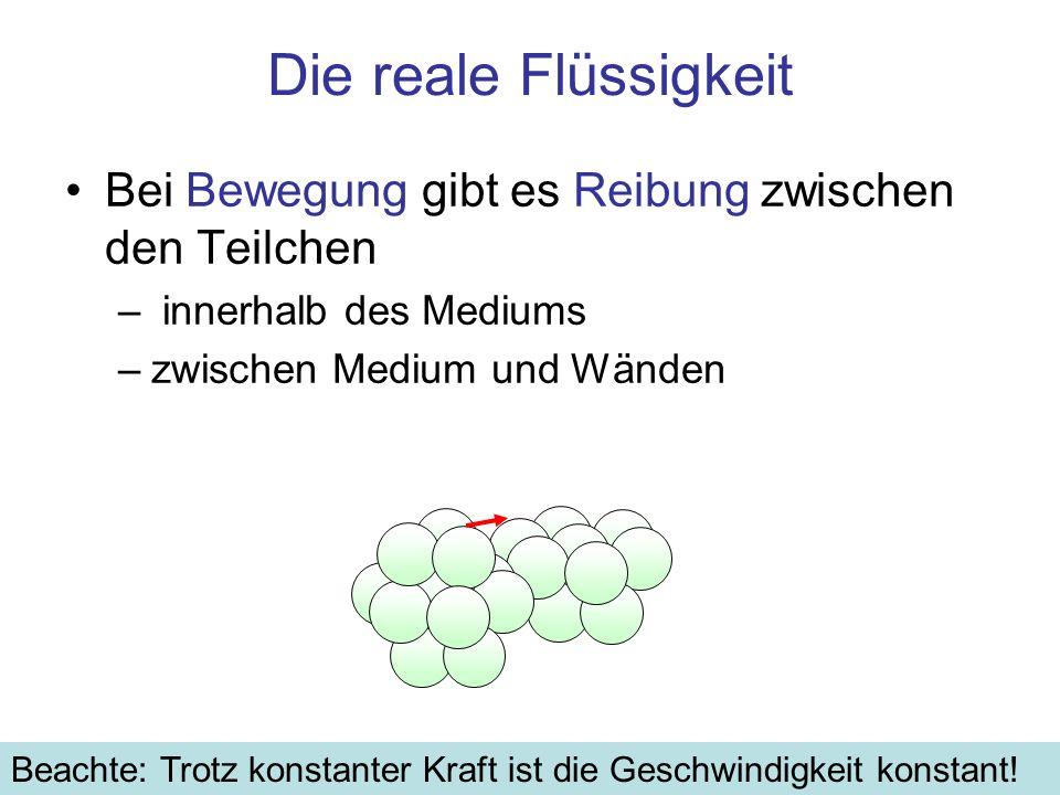 Zusammenfassung Das Stokessche Gesetz beschreibt die Reibungskraft bei Bewegung einer Kugel in einem viskosen Medium F = 6 π·η·r·v [N] –η [N·s/m 2 ] Viskosität des Mediums [N·s/m 2 ] –r [m] Radius der Kugel –v [m/s] Geschwindigkeit der Kugel bezüglich des Mediums Wichtig als Näherung für die Reibungskraft bei (langsamer) Bewegung von beliebig geformten Körpern in Gasen oder Flüssigkeiten: –bei laminarer Strömung ist die Reibungskraft proportional zur Geschwindigkeit –Für den Fall in viskosen Medien folgt konstante End-Geschwindigkeit nicht alle Körper fallen gleichschnell Anwendung: Beim Zentrifugieren driften in einer rotierenden Flüssigkeit Teilchen, die sich in Dichte oder Form unterscheiden, mit unterschiedlichen Geschwindigkeiten nach außen –Gleichgewicht zwischen Zentripetal- und Stokes-Reibungskraft
