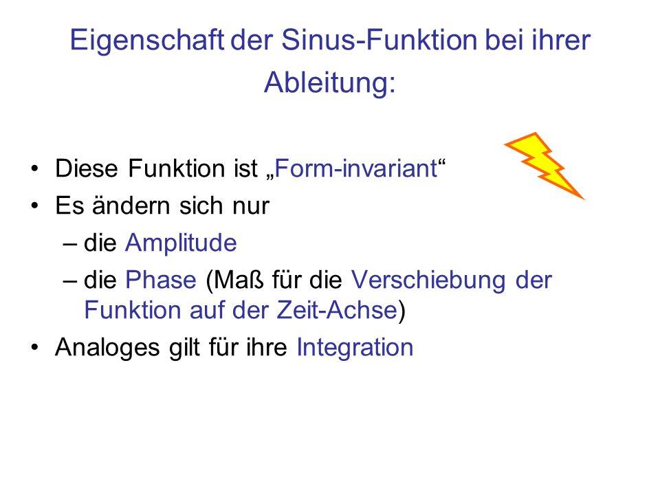 Eigenschaft der Sinus-Funktion bei ihrer Ableitung: Diese Funktion ist Form-invariant Es ändern sich nur –die Amplitude –die Phase (Maß für die Verschiebung der Funktion auf der Zeit-Achse) Analoges gilt für ihre Integration