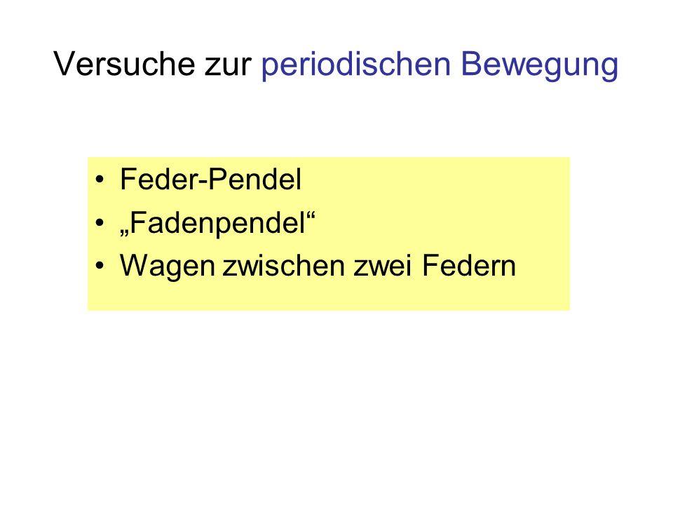 Versuche zur periodischen Bewegung Feder-Pendel Fadenpendel Wagen zwischen zwei Federn
