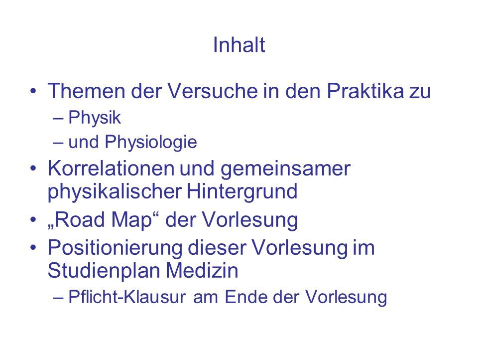Inhalt Themen der Versuche in den Praktika zu –Physik –und Physiologie Korrelationen und gemeinsamer physikalischer Hintergrund Road Map der Vorlesung