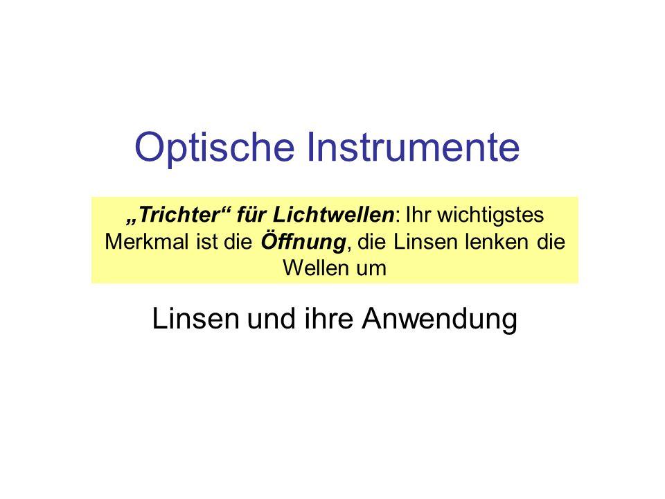 Optische Instrumente Linsen und ihre Anwendung Trichter für Lichtwellen: Ihr wichtigstes Merkmal ist die Öffnung, die Linsen lenken die Wellen um