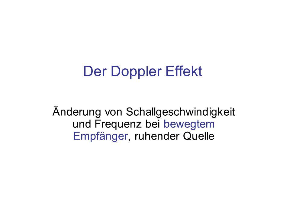 Der Doppler Effekt Änderung von Schallgeschwindigkeit und Frequenz bei bewegtem Empfänger, ruhender Quelle