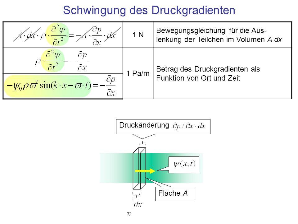 Schwingung des Druckgradienten 1 N Bewegungsgleichung für die Aus- lenkung der Teilchen im Volumen A dx 1 Pa/m Betrag des Druckgradienten als Funktion
