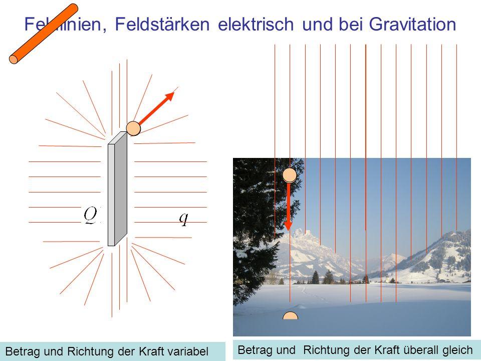 Feldlinien, Feldstärken elektrisch und bei Gravitation Betrag und Richtung der Kraft variabel Betrag und Richtung der Kraft überall gleich