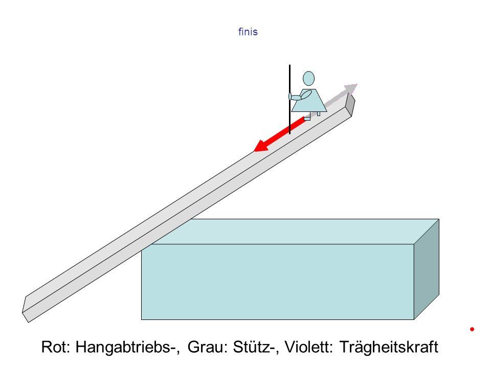 finis Rot: Hangabtriebs-, Grau: Stütz-, Violett: Trägheitskraft