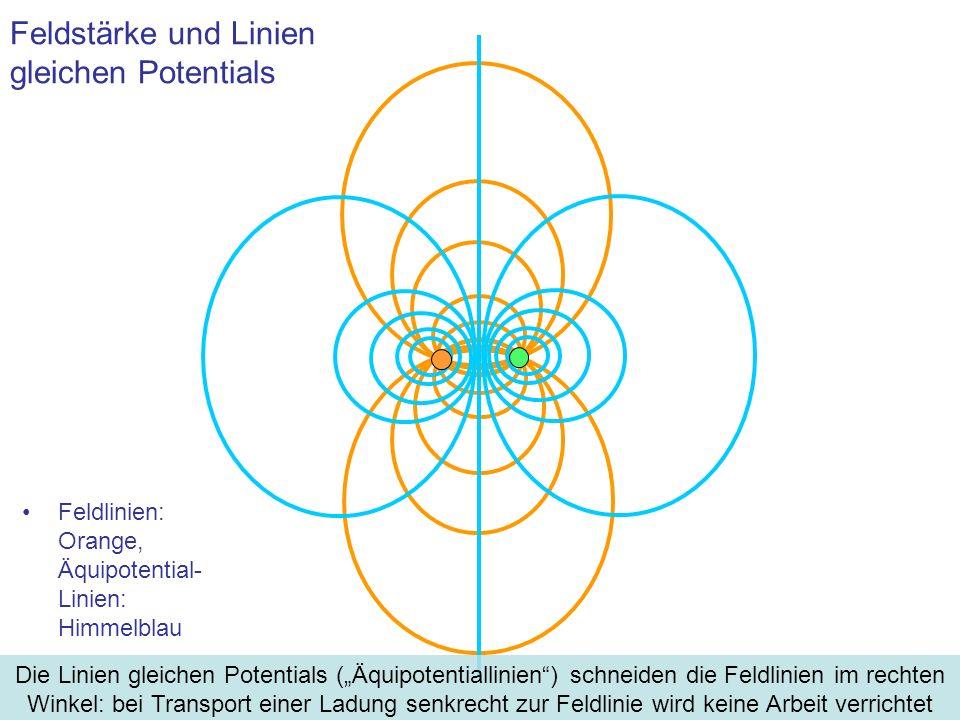 Feldstärke und Linien gleichen Potentials Feldlinien: Orange, Äquipotential- Linien: Himmelblau Die Linien gleichen Potentials (Äquipotentiallinien) s