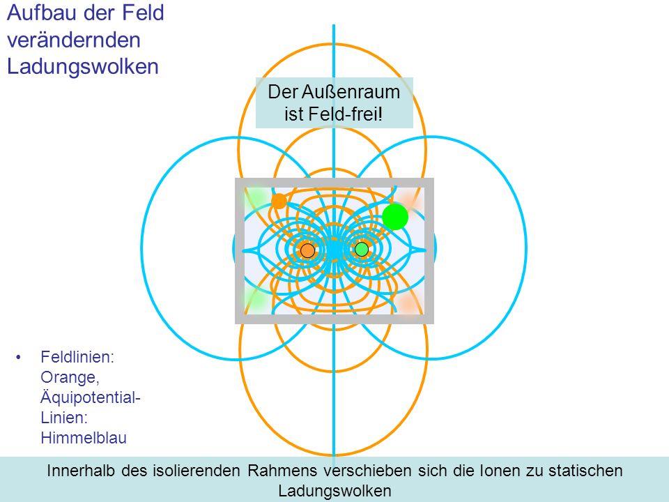 Feldlinien: Orange, Äquipotential- Linien: Himmelblau Aufbau der Feld verändernden Ladungswolken Innerhalb des isolierenden Rahmens verschieben sich d