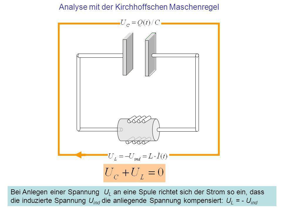 Analyse mit der Kirchhoffschen Maschenregel Bei Anlegen einer Spannung U L an eine Spule richtet sich der Strom so ein, dass die induzierte Spannung U
