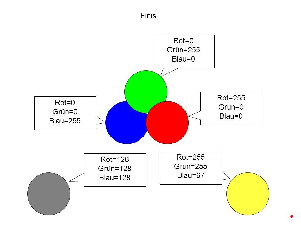 Rot=0 Grün=0 Blau=255 Rot=255 Grün=0 Blau=0 Rot=128 Grün=128 Blau=128 Finis Rot=0 Grün=255 Blau=0 Rot=255 Grün=255 Blau=67