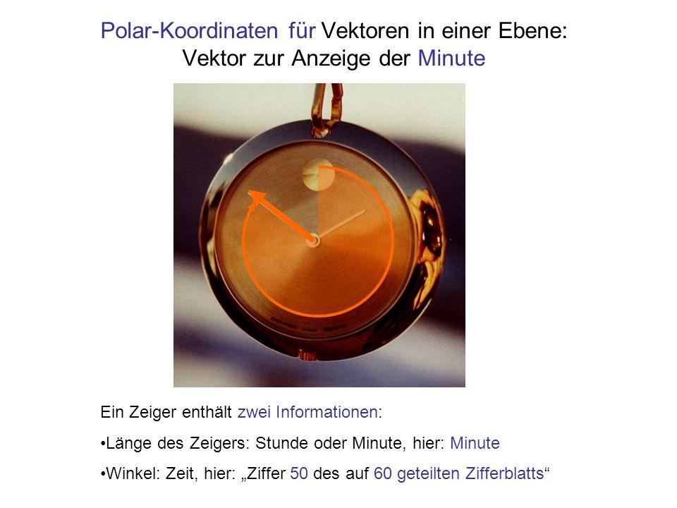 Polar-Koordinaten Nur der Winkel ändert sich, der Radius bleibt konstant Für Drehungen ist die Schreibweise in Polarkoordinaten geeignet: es ändert sich nur eine Komponente, der Winkel Einheit 1 mVektor in Polarkoordinaten 1 mBetrag, Radius 1rad Winkel Beispiel: Ein Ortsvektor