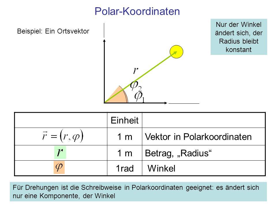 Umrechnung von Polar- auf kartesische Koordinaten Einheit 1 m Kartesische Komponenten des Vektors 1m Betrag, Radius 1rad Winkel Beispiel: Ein Ortsvektor