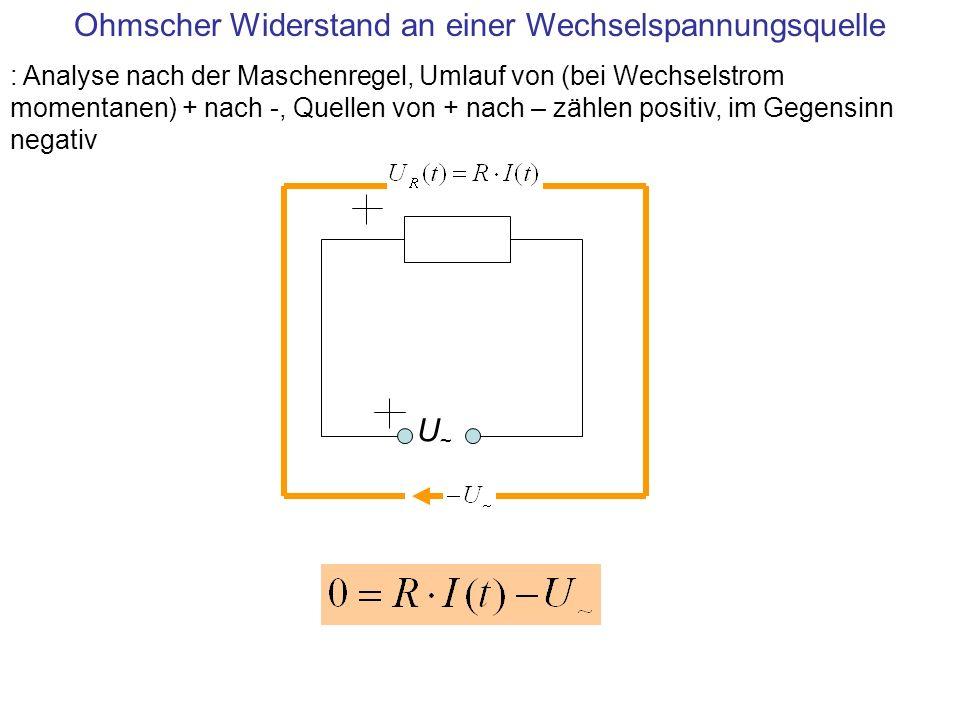 U~U~ Ohmscher Widerstand an einer Wechselspannungsquelle : Analyse nach der Maschenregel, Umlauf von (bei Wechselstrom momentanen) + nach -, Quellen v