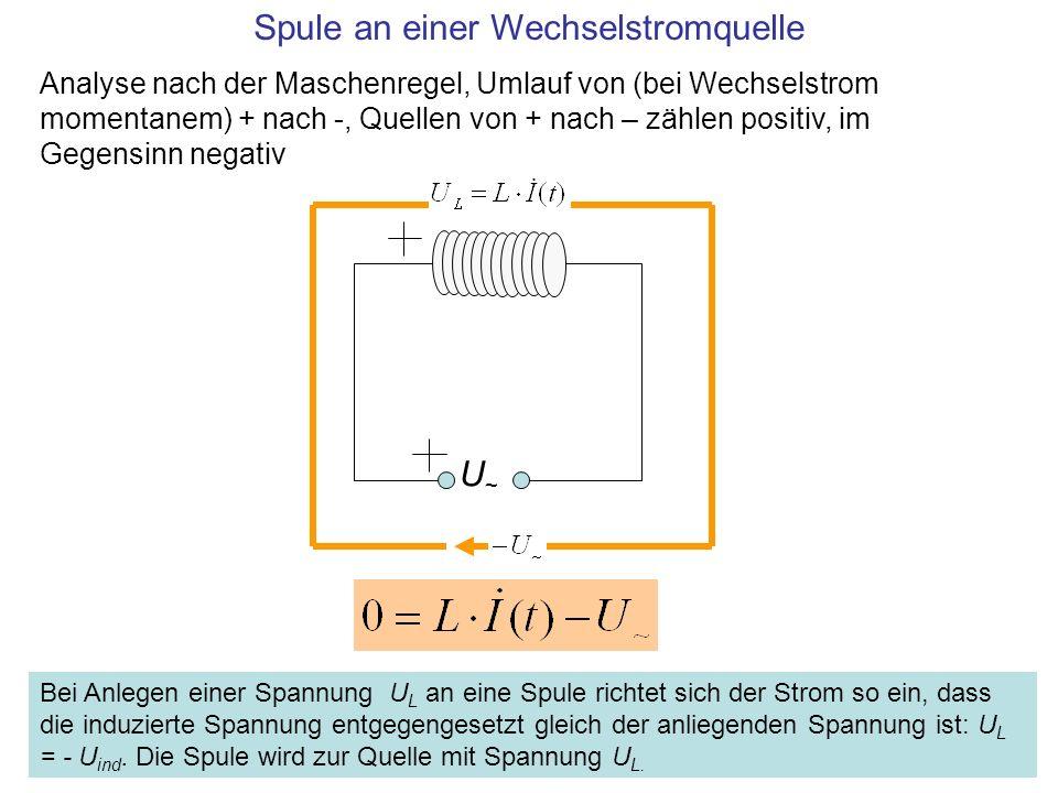 U~U~ Spule an einer Wechselstromquelle Analyse nach der Maschenregel, Umlauf von (bei Wechselstrom momentanem) + nach -, Quellen von + nach – zählen p