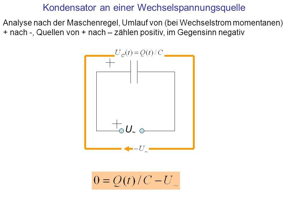 U~U~ Kondensator an einer Wechselspannungsquelle Analyse nach der Maschenregel, Umlauf von (bei Wechselstrom momentanen) + nach -, Quellen von + nach