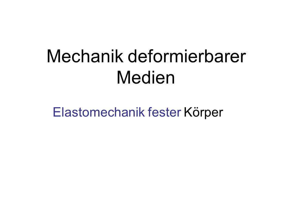 Mechanik deformierbarer Medien Elastomechanik fester Körper