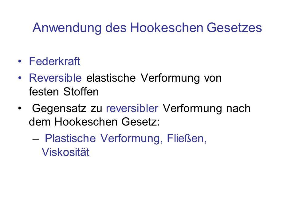 Anwendung des Hookeschen Gesetzes Federkraft Reversible elastische Verformung von festen Stoffen Gegensatz zu reversibler Verformung nach dem Hookesch