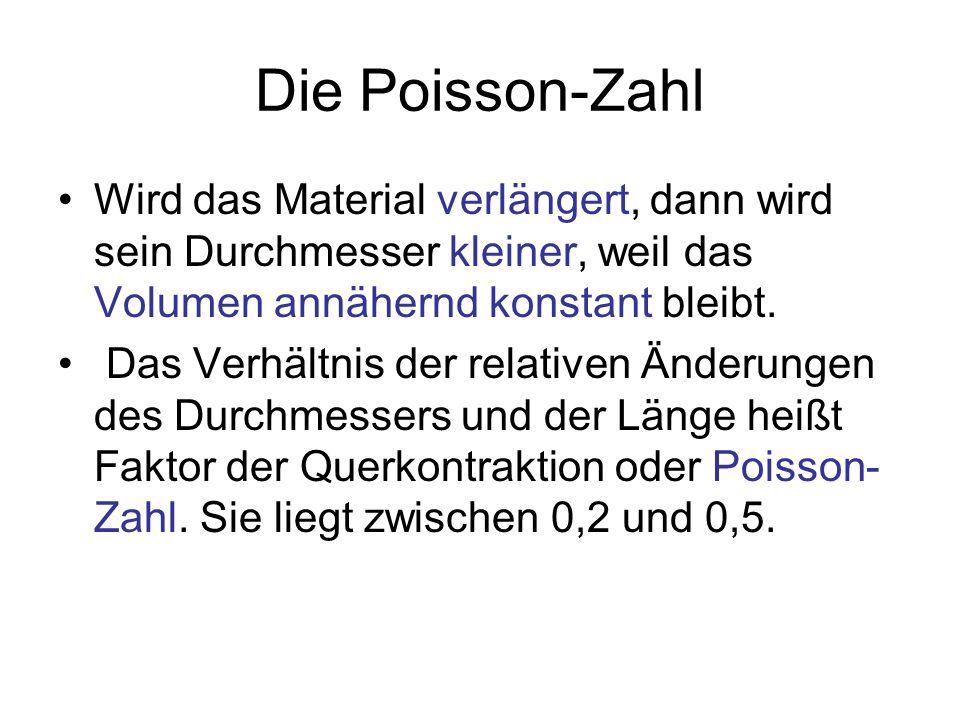 Die Poisson-Zahl Wird das Material verlängert, dann wird sein Durchmesser kleiner, weil das Volumen annähernd konstant bleibt. Das Verhältnis der rela