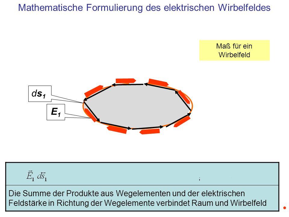 Das Integral über die elektrische Feldstärke entlang eines geschlossenen Weges folgt aus dem Übergang zu infinitesimal kleinen Wegelementen E1E1 ds1ds1 Mathematische Formulierung des elektrischen Wirbelfeldes Maß für ein Wirbelfeld