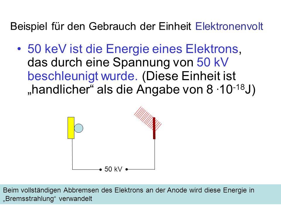Einheit 1eV Energie- erhaltung, mit 1nm Wellenlänge λ in nm, U in Kilovolt Umrechnung der Beschleunigungs-Spannung in V zu Wellenlänge in nm Bei Beschleunigungsspannung 124 kV wird Strahlung mit λ = 0,01 nm emittiert (liegt im Röntgen Bereich des Spektrums)