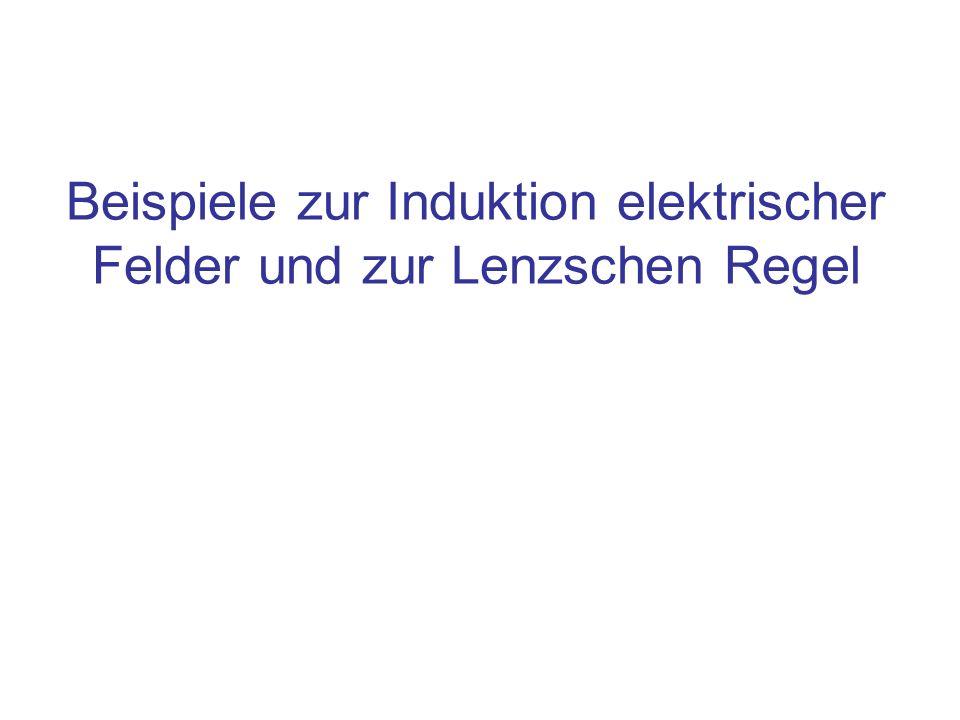 Inhalt Die Lenzsche Regel Beispiele zur Induktion und Lenzscher Regel: –Aufbau und Abbau eines elektrischen Feldes –Ein- und Ausschalten eines elektrischen Stroms