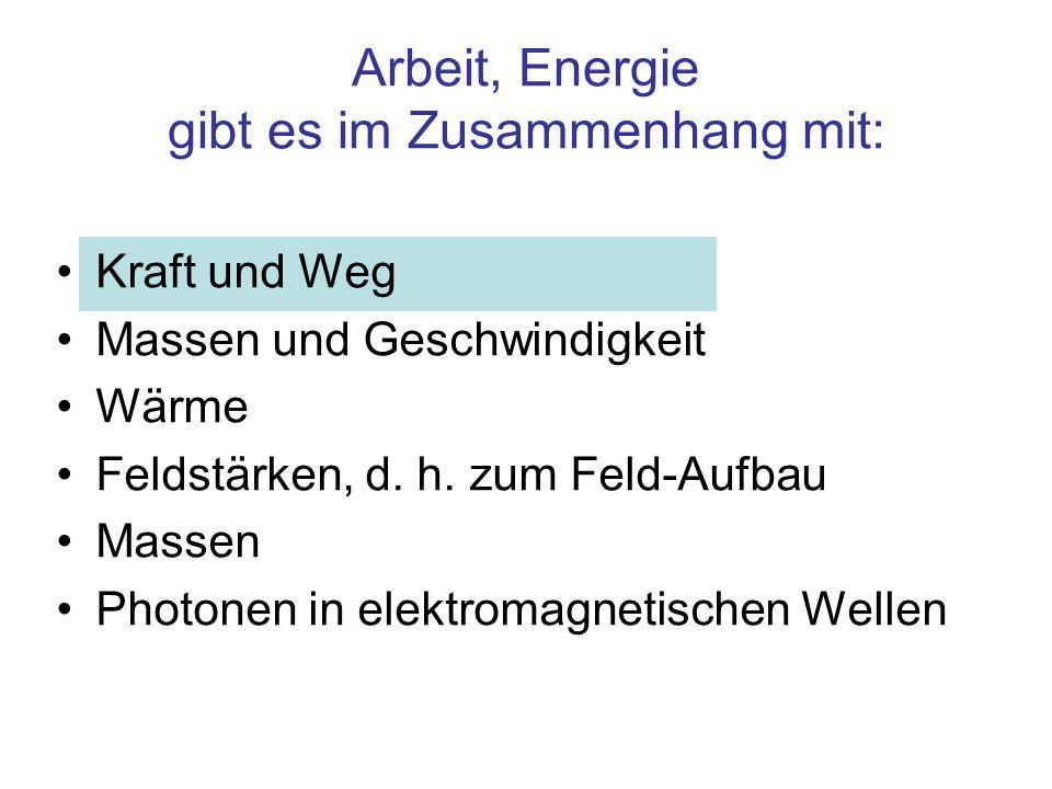 Arbeit, Energie gibt es im Zusammenhang mit: Kraft und Weg Massen und Geschwindigkeit Wärme Feldstärken, d. h. zum Feld-Aufbau Massen Photonen in elek