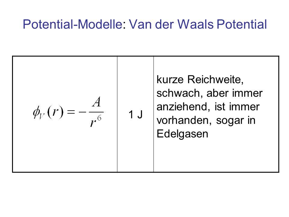 Potential-Modelle: Van der Waals Potential 1 J kurze Reichweite, schwach, aber immer anziehend, ist immer vorhanden, sogar in Edelgasen