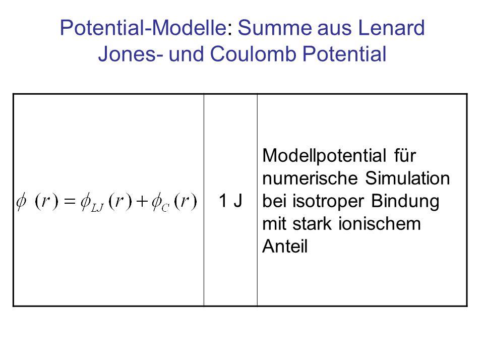 Potential-Modelle: Summe aus Lenard Jones- und Coulomb Potential 1 J Modellpotential für numerische Simulation bei isotroper Bindung mit stark ionisch