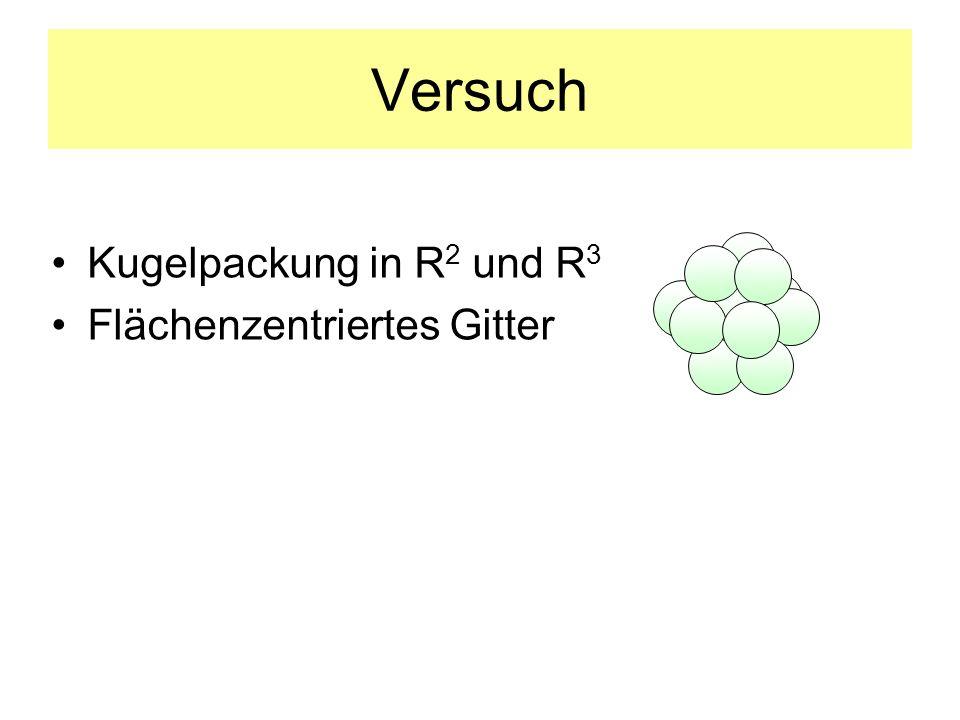 Versuch Kugelpackung in R 2 und R 3 Flächenzentriertes Gitter