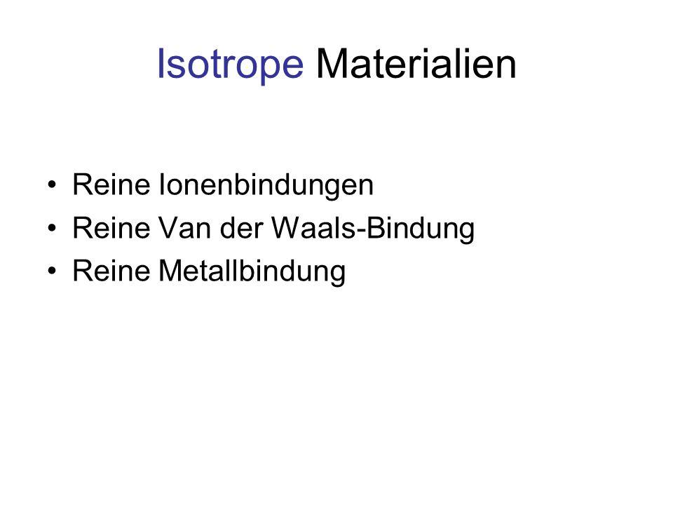 Isotrope Materialien Reine Ionenbindungen Reine Van der Waals-Bindung Reine Metallbindung