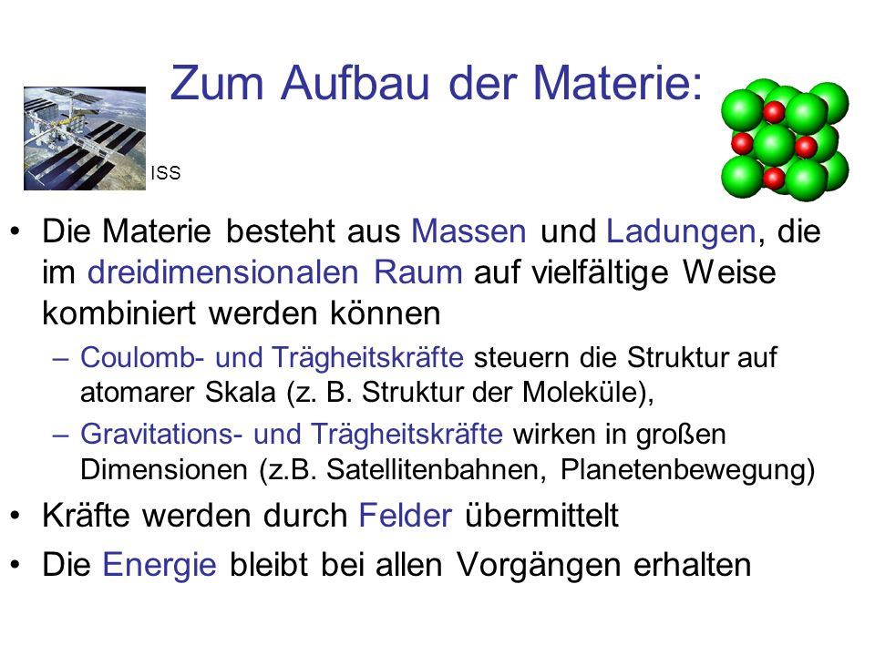 Zum Aufbau der Materie: Die Materie besteht aus Massen und Ladungen, die im dreidimensionalen Raum auf vielfältige Weise kombiniert werden können –Cou