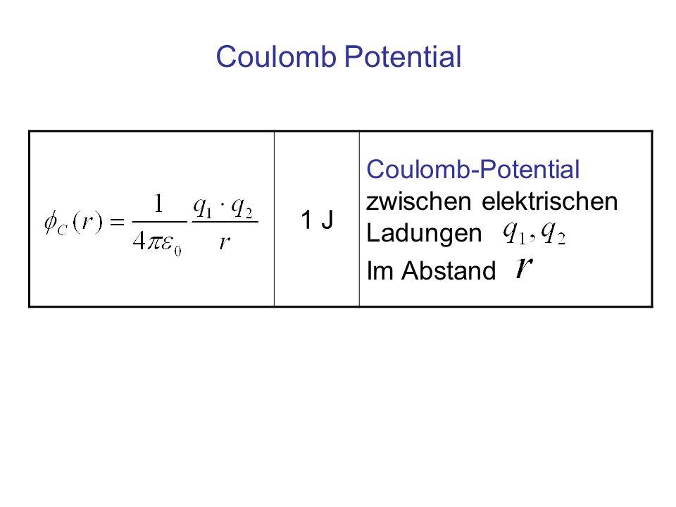 Coulomb Potential 1 J Coulomb-Potential zwischen elektrischen Ladungen Im Abstand
