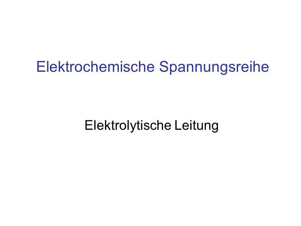 Inhalt Elektrochemische Spannungsreihe Galvanische Elemente