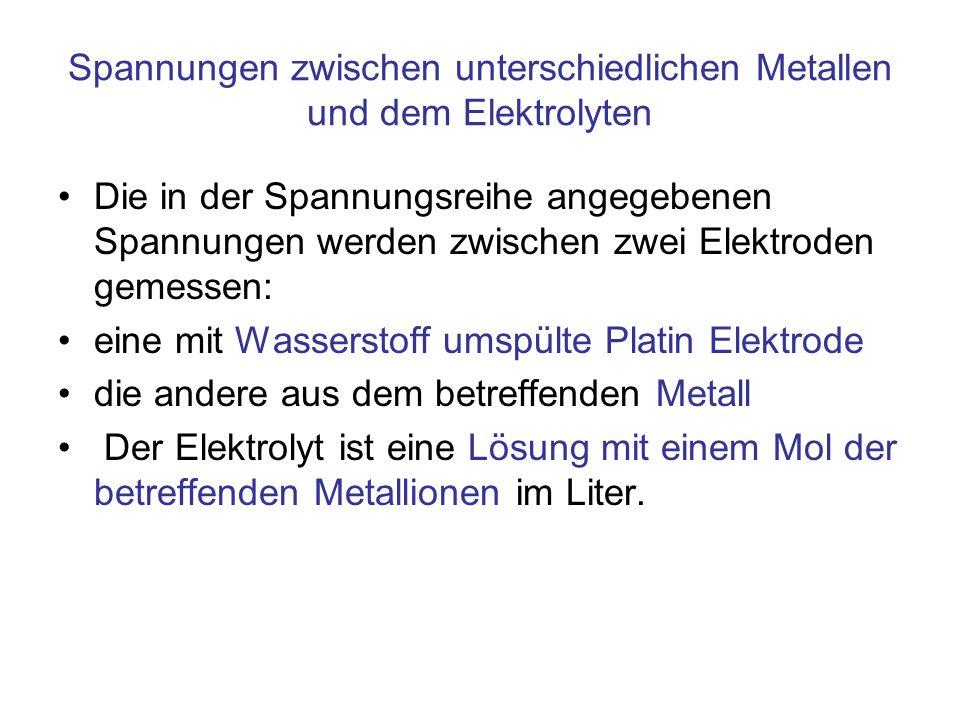 Spannungen zwischen unterschiedlichen Metallen und dem Elektrolyten Die in der Spannungsreihe angegebenen Spannungen werden zwischen zwei Elektroden g