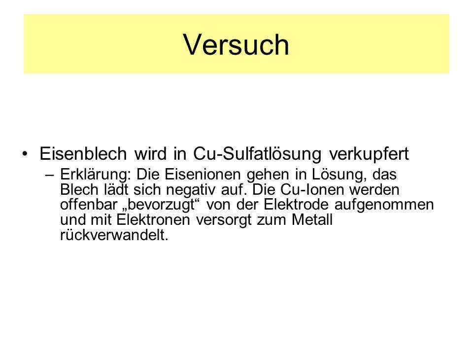Versuch Eisenblech wird in Cu-Sulfatlösung verkupfert –Erklärung: Die Eisenionen gehen in Lösung, das Blech lädt sich negativ auf. Die Cu-Ionen werden