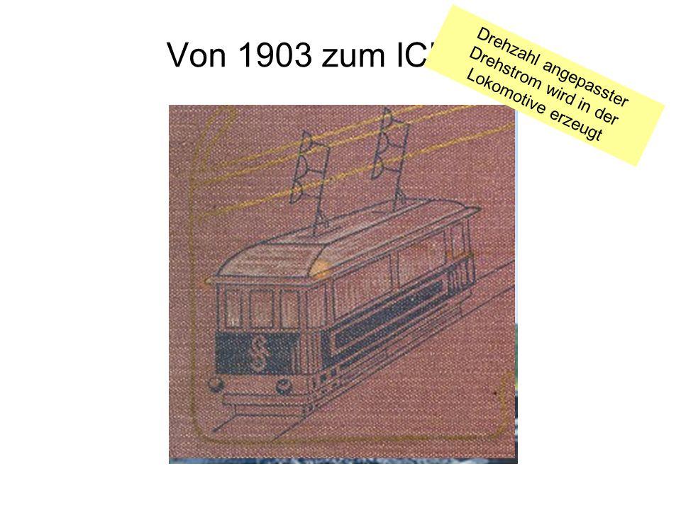 Von 1903 zum ICE Drehzahl angepasster Drehstrom wird in der Lokomotive erzeugt