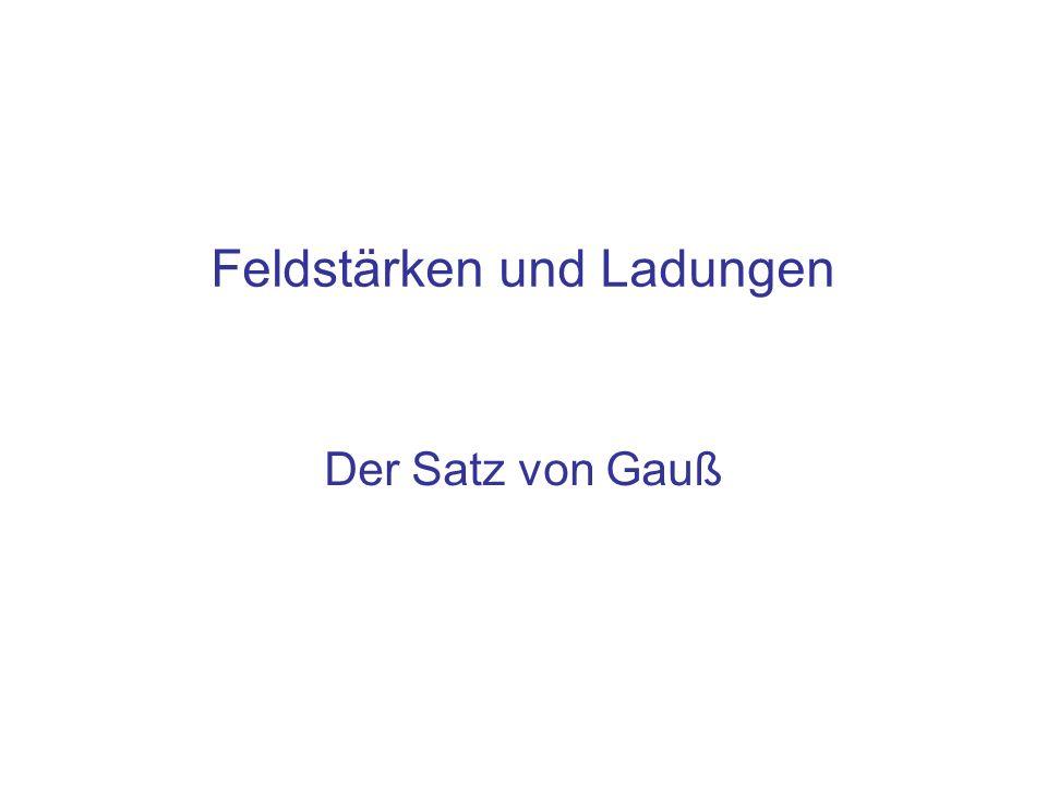 Feldstärken und Ladungen Der Satz von Gauß