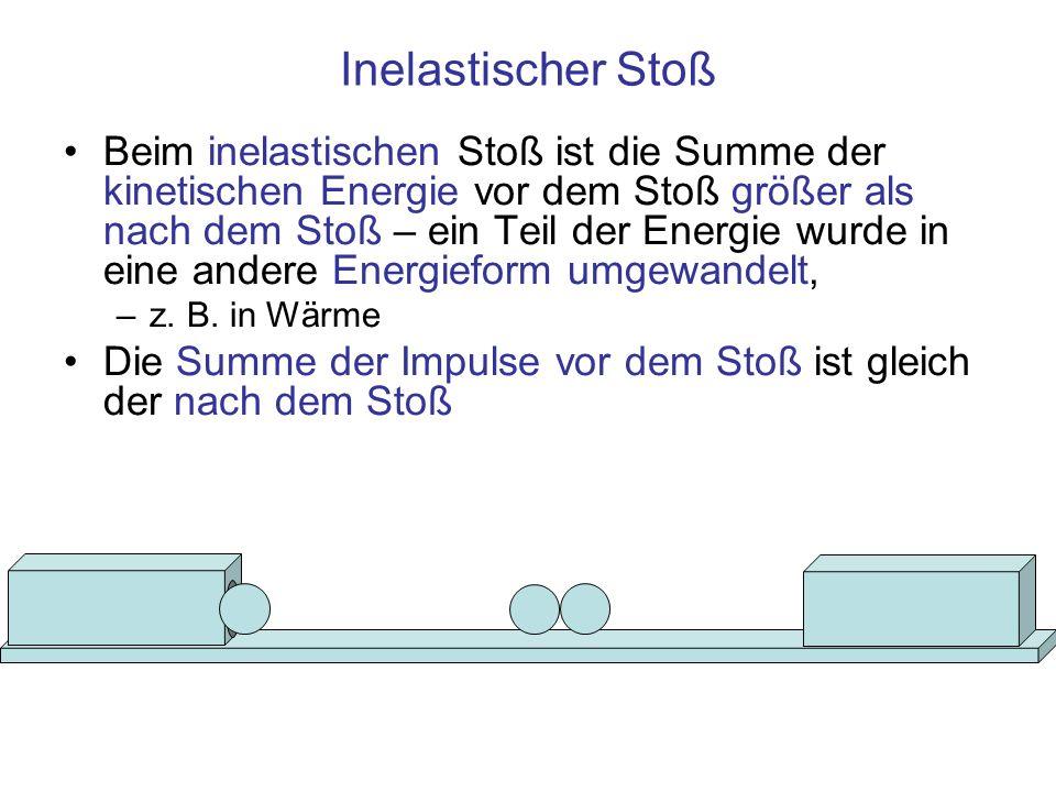 Inelastischer Stoß Beim inelastischen Stoß ist die Summe der kinetischen Energie vor dem Stoß größer als nach dem Stoß – ein Teil der Energie wurde in eine andere Energieform umgewandelt, –z.