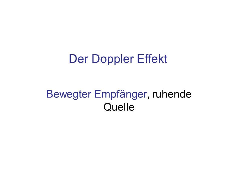 Der Doppler Effekt Bewegter Empfänger, ruhende Quelle